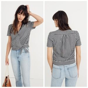 Madewell Black & White Wrap Top Size M